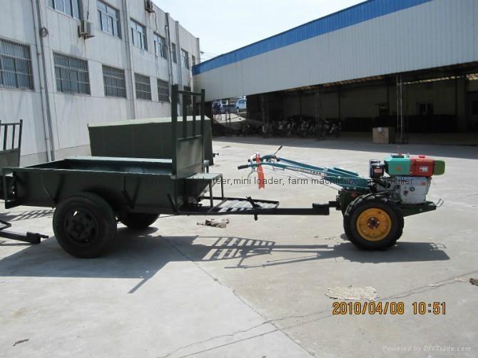walking tractor, mini four wheel tractor 2 ton farm trailer 3