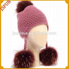 Knit style with fur pom pom winter hats