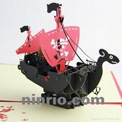 Virking ship 3D popup greeting card