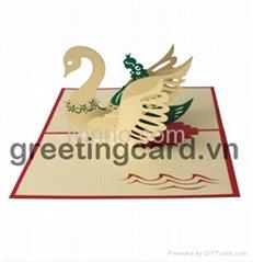 Swan princess 3D popup greeting card