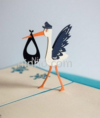 Stork mother 3D popup greeting card