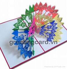 Peacock 3D popup greeting card