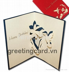 Humming bird and flower 3D popup greeting card