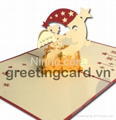 Moon and angel 3D popup greeting card