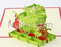 Baby trolleys 3D popup greeting card