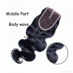 hot sale closure virgin hair middle part lace closure (Hot Product - 1*)