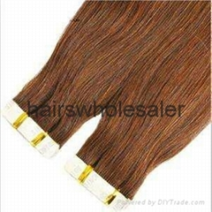 "top quality 100%human hair 2.5g 18"" 4# double sided tape hair extension"