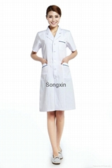 White lab coat Medical uniforms Hospital For female With Blue Selvedge