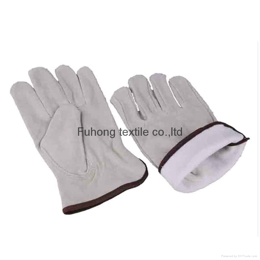 Split cowhide leather driving warm winter gloves 2