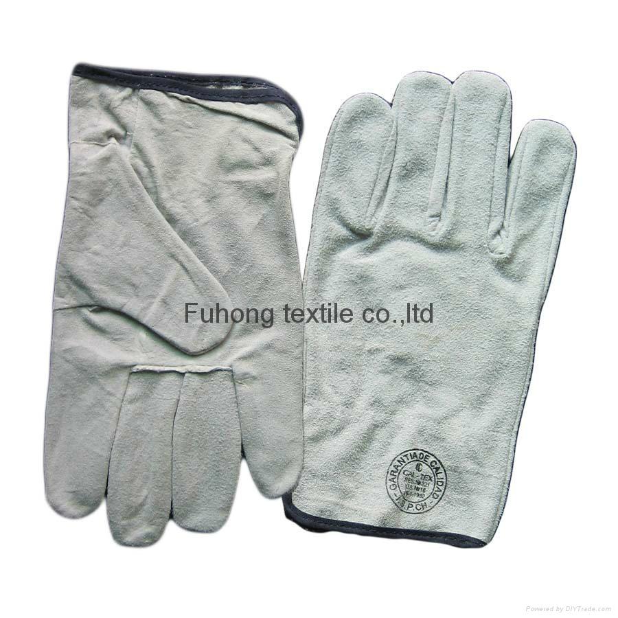 Split cowhide leather driving warm winter gloves 1