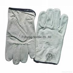 Split cowhide leather driving warm winter gloves
