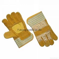 Split cowhide leather safety work gloves