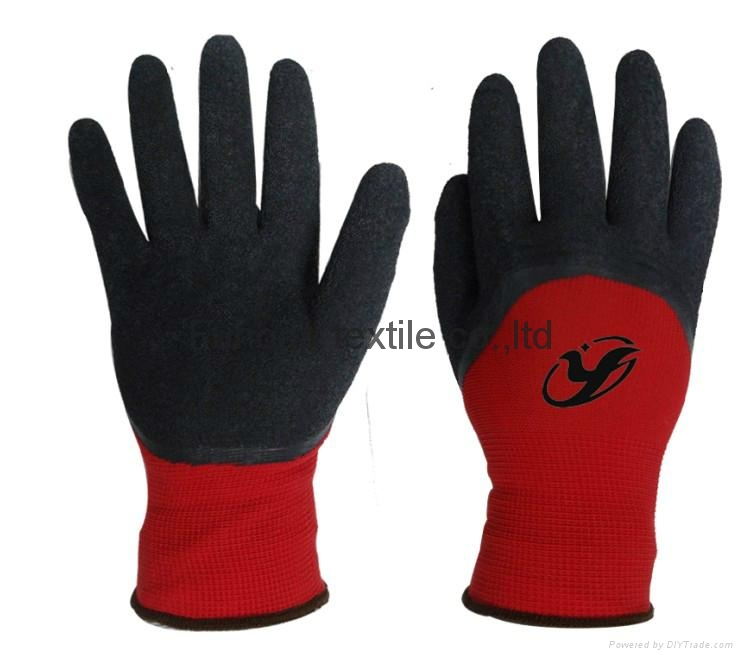 Cheap price latex coated working safety gloves with CE DNN328  1