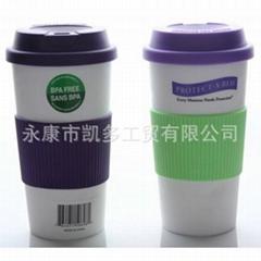 可插入彩纸双层塑料随行广告杯【360ML/12OZ星巴克风咖啡】