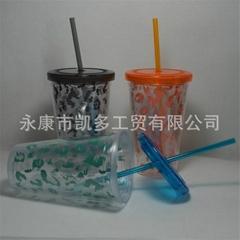 供應450ML(16OZ)雙層透明吸管杯