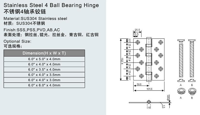 CE EN1935 13级认证, 不锈钢304,2轴承或4轴承抽芯合页 2