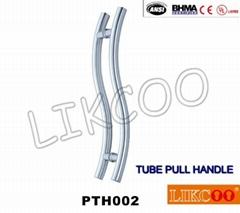 PTH002 glass door handle stainless steel S shape tube pull handle,door pull