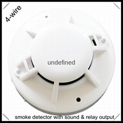 DC powered 4-wire smoke detector with relay output
