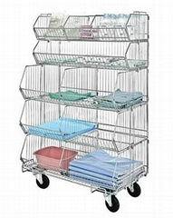 Wire basket cart separately stores and transfers items