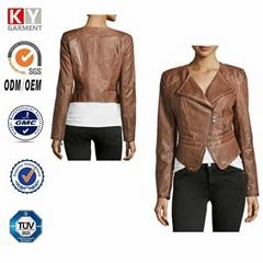 chinese factory mature women wear garment dye pu leather jacket