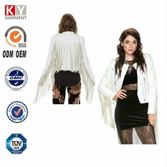 stylish hot sale dignity fringe leather women's jackets coats