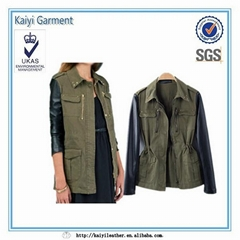 Coat Outerwear Military Green Faux PU Leather Sleeve Canadian Jacket