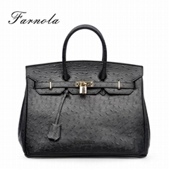 hot selling brand replica ostrich genuine leather women handbags fashion