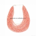 multi layered seed bead chains chunky necklace 4