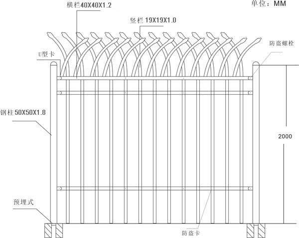 大量供应单向弯头铁艺护栏 2