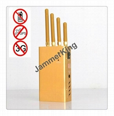 High Power Handheld Portable Cell Phone and GPS Signal Jammer - Golden