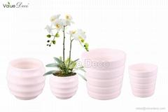 Round flower pot w stripe (DM0066)