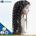 100% virgin long black hair glueless lace front human hair wigs 2