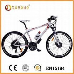26 inch white frame hub motor electric bike