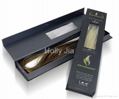 Matt Black Hair Extension Packaging Box with Magnet & Clear Window