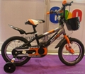 Steel frame child bicycle with basket