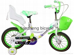 Two seat kids ride on toy style green bicycle