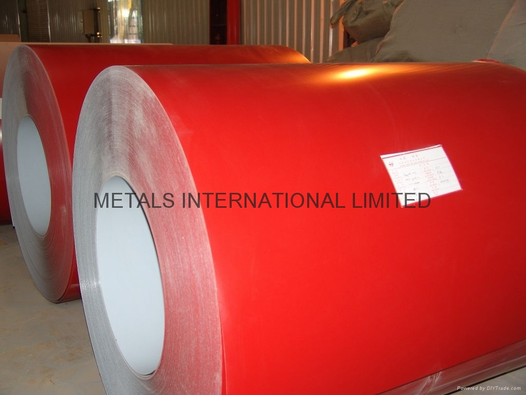 RED COATED GALVANIZED STEEL COILS