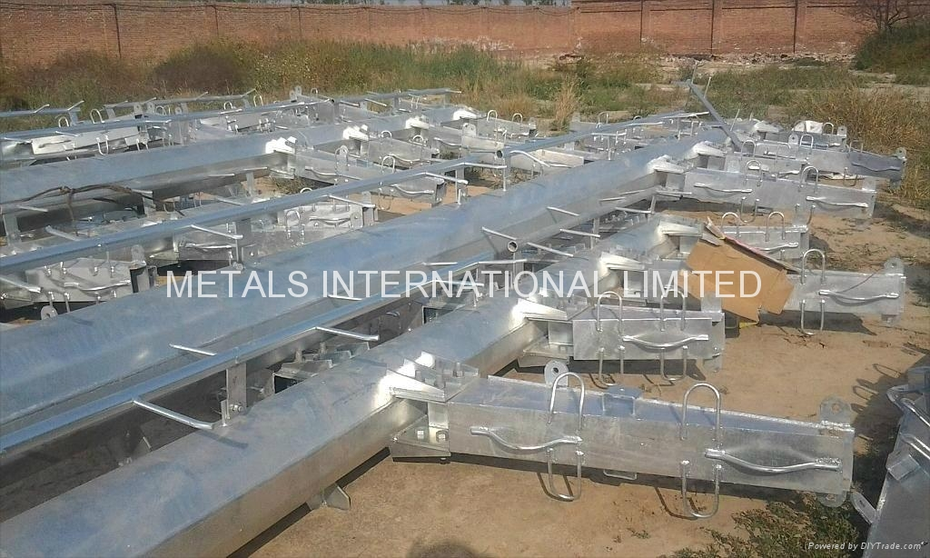 Power Transmission Poles : Astm a tapered steel pole flanged