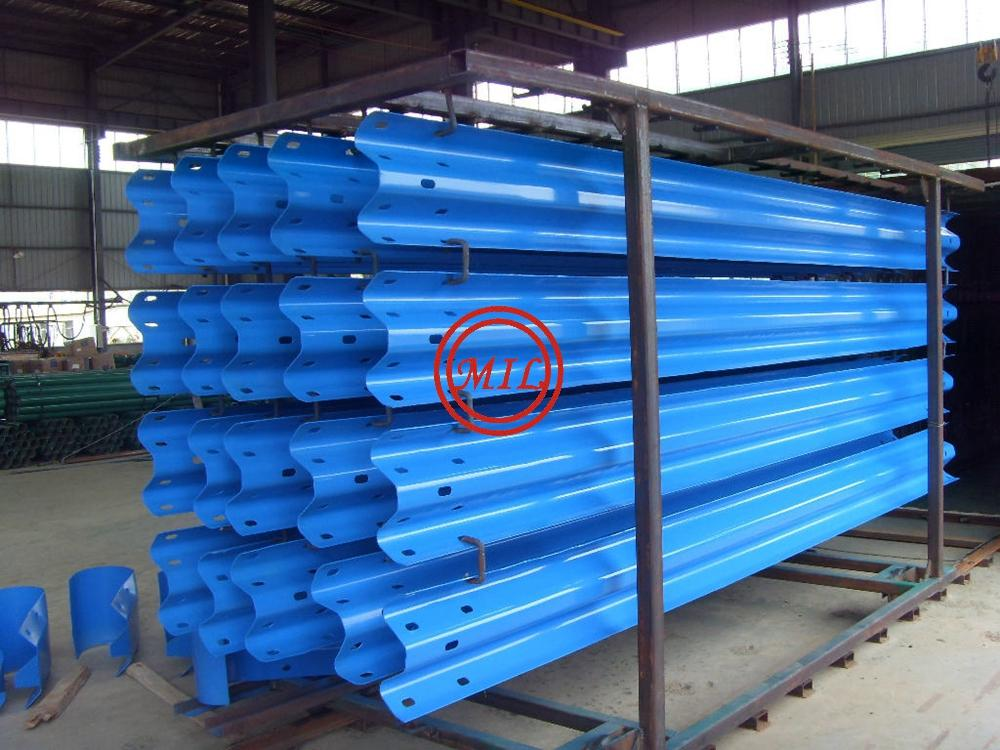 Blue Painted W-Beam Highway Guardrails