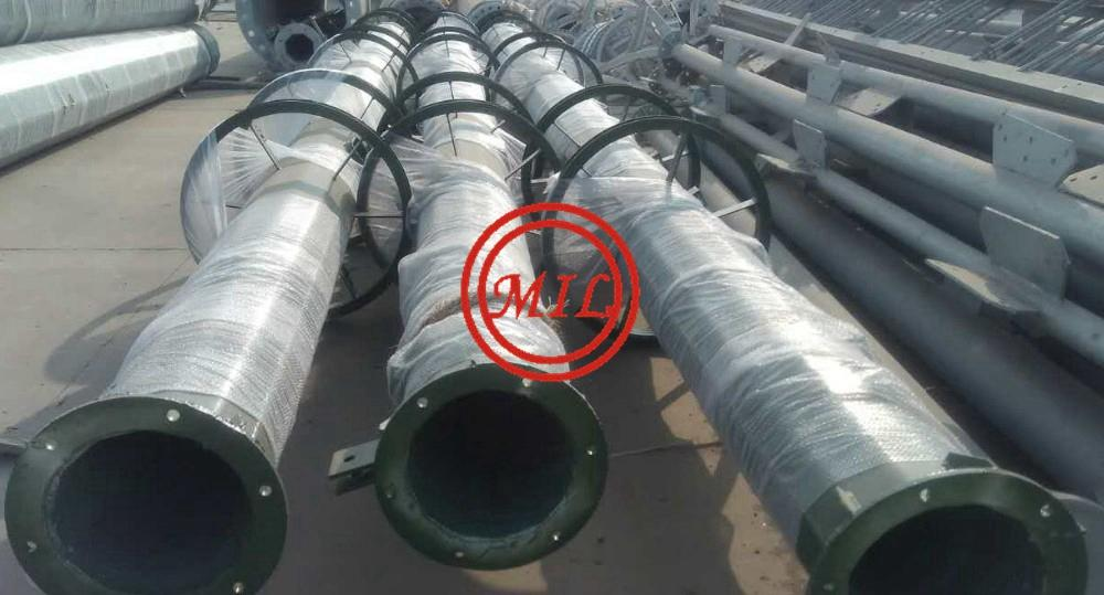 ASTM A595,DIN 4131,BS 8100,JIS G3444 Telecommunication Monopile,Antenna pole 7