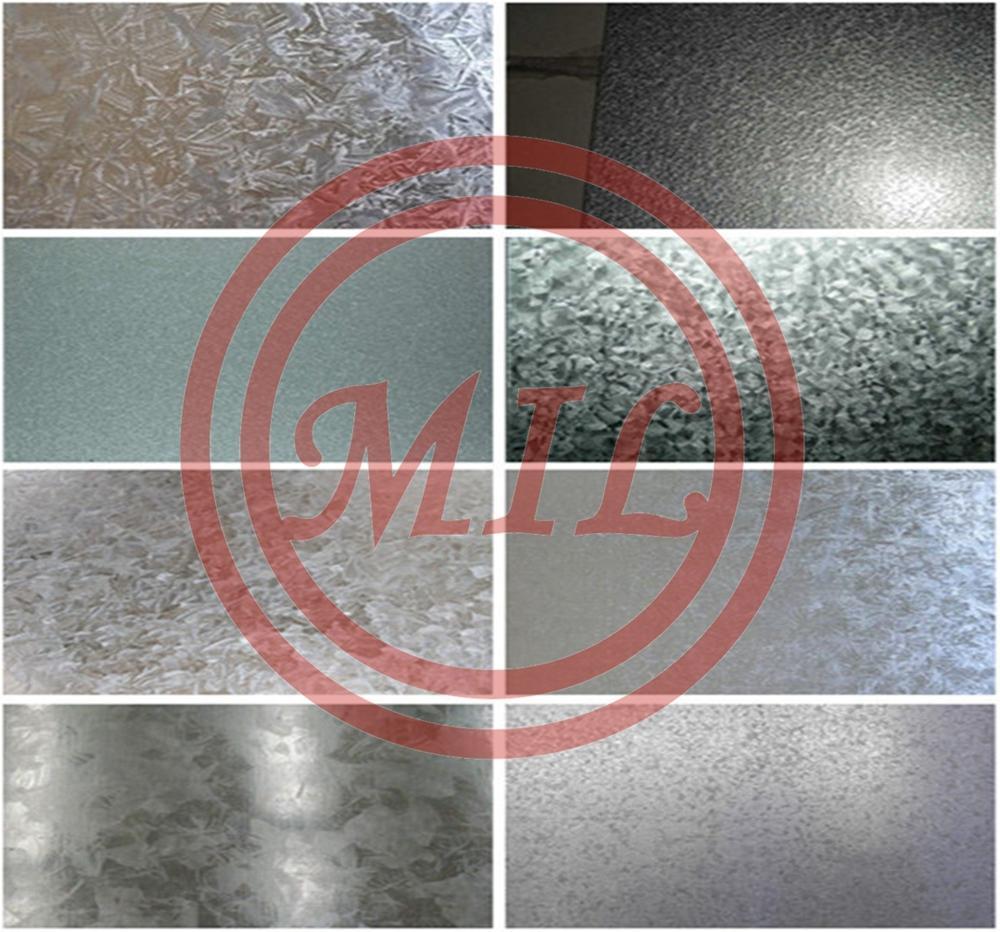 Regular spangle and zinc coating hot dip galvanized steel