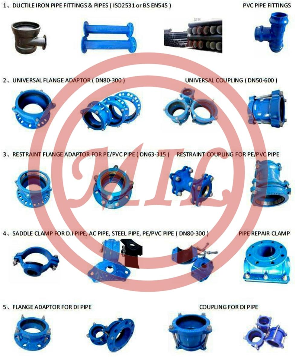 Ductile Iron Cast Pipe Fittings Flexible Joint Universal Coupling For UPVC,DI,CI,AC,Steel Pipe