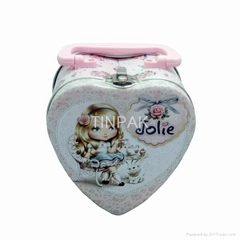 pink heart tin box for chocolate