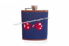 Bow Tie Needlepoint Flask