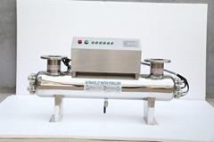 Overflowing UV water sterilizer