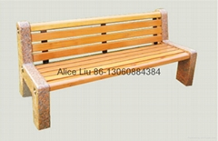(HD-20003)Stone bench with wooden board