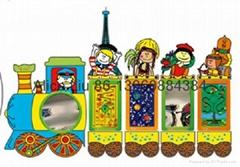 文化列車儿童牆面益智玩具