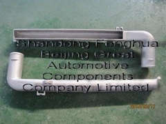 charge air cooler end tank by cast aluminum