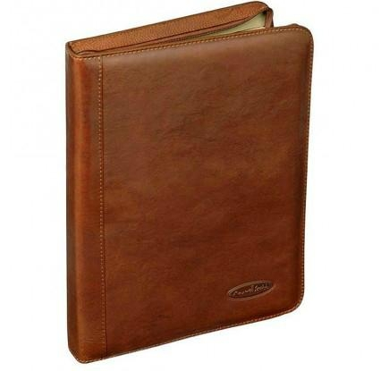 Tan Leather Zipped Conference Folder 1