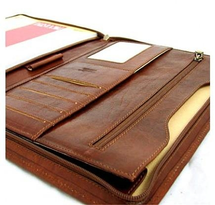 Tan Leather Zipped Conference Folder 3